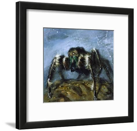 Wolf Spider: a Gigantic Hairy Spider with Beady Eyes Emerges from its Lair to Wreak Havoc-Stanley Meltzoff-Framed Art Print