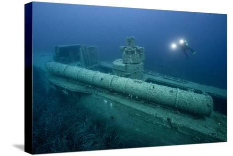 Exploring a World War Ii Shipwreck in the Ionian Sea-Andy Mann-Stretched Canvas Print