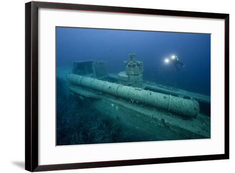 Exploring a World War Ii Shipwreck in the Ionian Sea-Andy Mann-Framed Art Print