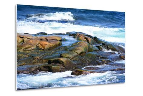 Surf and Exposed Rock at High Tide Near Neil's Harbor-Darlyne A^ Murawski-Metal Print