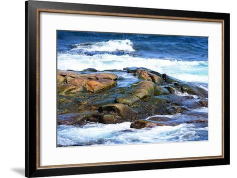Surf and Exposed Rock at High Tide Near Neil's Harbor-Darlyne A^ Murawski-Framed Art Print