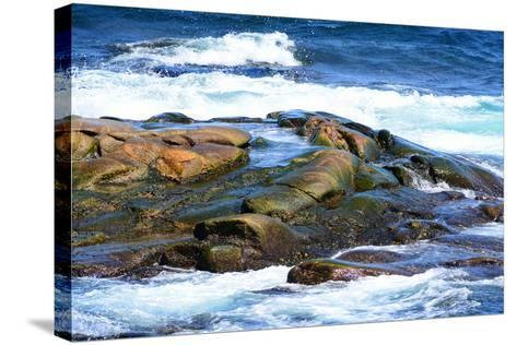 Surf and Exposed Rock at High Tide Near Neil's Harbor-Darlyne A^ Murawski-Stretched Canvas Print