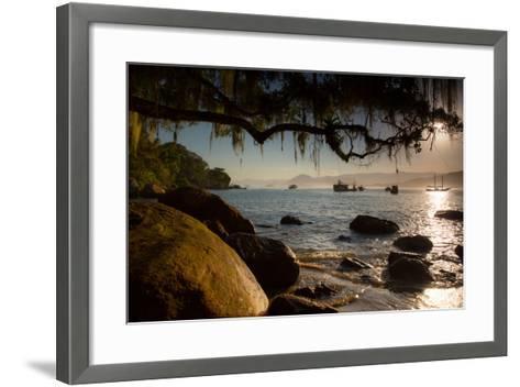 Praia Picinguaba in Ubatuba, Sao Paulo State, Brazil, at Sunset-Alex Saberi-Framed Art Print