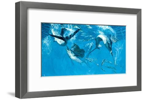 Four Leaping Sailfish and Halfbeak, 1988-Stanley Meltzoff-Framed Art Print