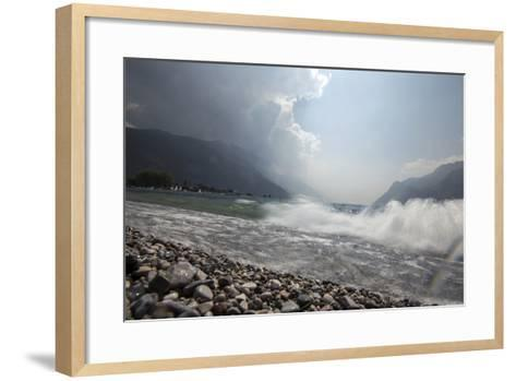 A Storm Approaches the Beach in Riva Del Garda, Lago Di Garda, Trentino, Italy-Ulla Lohmann-Framed Art Print