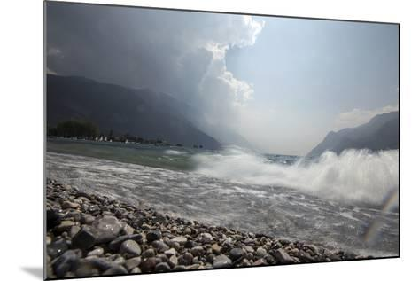 A Storm Approaches the Beach in Riva Del Garda, Lago Di Garda, Trentino, Italy-Ulla Lohmann-Mounted Photographic Print