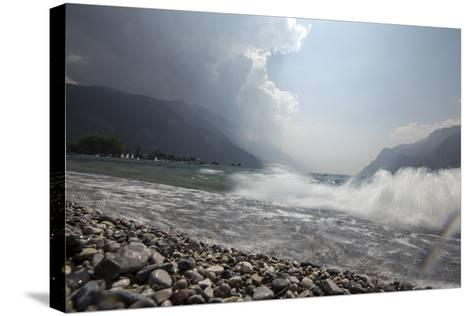 A Storm Approaches the Beach in Riva Del Garda, Lago Di Garda, Trentino, Italy-Ulla Lohmann-Stretched Canvas Print