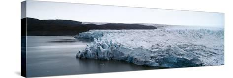 The Fracture Zone of a Glacier on the Greenland Ice Sheet Ending in a Lake-Jason Edwards-Stretched Canvas Print