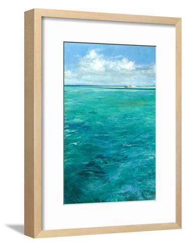 Enigma of the Flats: Bonefish Forage for Crabs with a Tiny Angler, Barely Visible Along the Beach-Stanley Meltzoff-Framed Art Print
