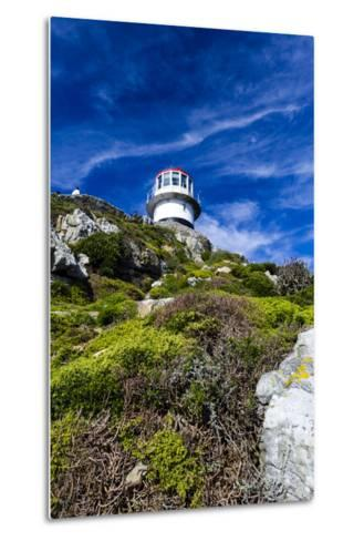 An Antique Lighthouse Summits a Cliff Near the Cape of Good Hope-Jason Edwards-Metal Print
