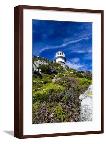 An Antique Lighthouse Summits a Cliff Near the Cape of Good Hope-Jason Edwards-Framed Art Print