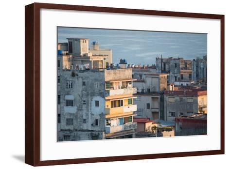 A Apartment Buildings in Havana, Cuba with the Gulf of Mexico in the Background-Erika Skogg-Framed Art Print
