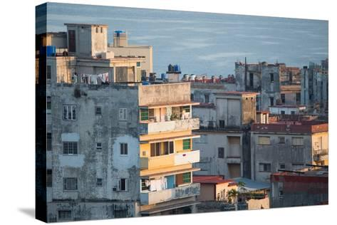 A Apartment Buildings in Havana, Cuba with the Gulf of Mexico in the Background-Erika Skogg-Stretched Canvas Print