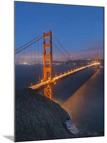 Lights on the Golden Gate Bridge at Night-Jeff Mauritzen-Mounted Photographic Print