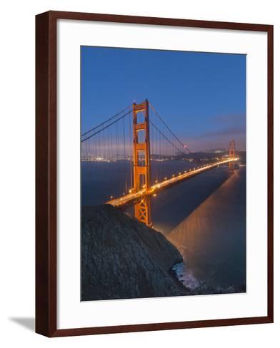 Lights on the Golden Gate Bridge at Night-Jeff Mauritzen-Framed Art Print