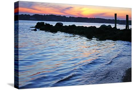 A Jetty Extends into the Bay at Stonington Point-Donna O'Meara-Stretched Canvas Print