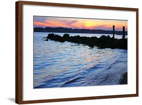 A Jetty Extends into the Bay at Stonington Point-Donna O'Meara-Framed Art Print