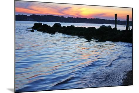 A Jetty Extends into the Bay at Stonington Point-Donna O'Meara-Mounted Photographic Print