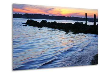 A Jetty Extends into the Bay at Stonington Point-Donna O'Meara-Metal Print