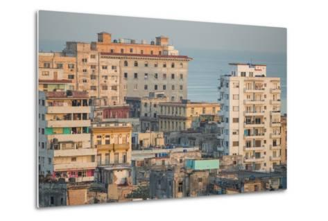 Buildings in Havana, Cuba with the Gulf of Mexico in the Background-Erika Skogg-Metal Print