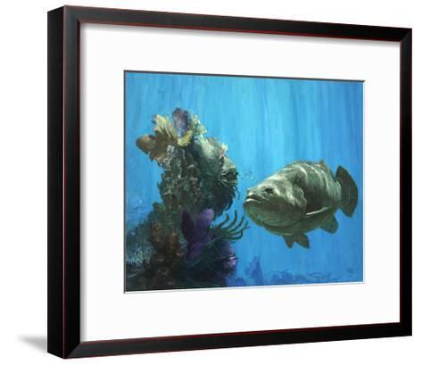 An Atlantic Goliath Grouper in 'Secrets of Arcimboldo's Reef, 2000'-Stanley Meltzoff-Framed Art Print