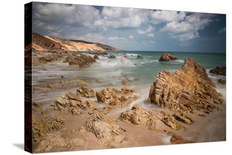 A Long Exposure During the Day by the Rock Formations Near Pedra Furada, Jericoacoara, Brazil-Alex Saberi-Stretched Canvas Print