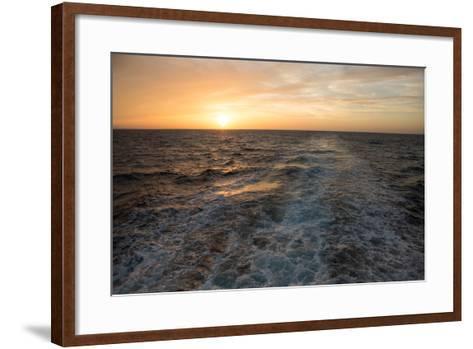 The Sun Rises Above the Horizon as Waves and Wake are Visible, Isla Coiba National Park-Eric Kruszewski-Framed Art Print