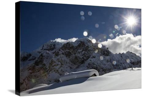A Hiker Approaches the Franzedaz Mountain Hut, by Monte Fop and Cime D'Auta Near Marmolada Glacier-Ulla Lohmann-Stretched Canvas Print