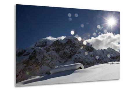A Hiker Approaches the Franzedaz Mountain Hut, by Monte Fop and Cime D'Auta Near Marmolada Glacier-Ulla Lohmann-Metal Print