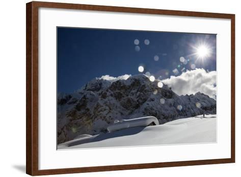 A Hiker Approaches the Franzedaz Mountain Hut, by Monte Fop and Cime D'Auta Near Marmolada Glacier-Ulla Lohmann-Framed Art Print