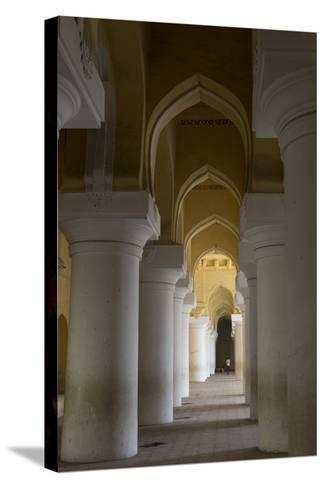 Large Pillars Line the Interior of Thirumalai Nayak Palace-Kelley Miller-Stretched Canvas Print