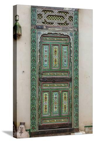 A Painted Door in Le Jardin Des Biehn, a Riad or Small Hotel in the Medina of Fez-Richard Nowitz-Stretched Canvas Print