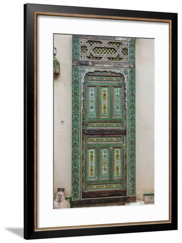 A Painted Door in Le Jardin Des Biehn, a Riad or Small Hotel in the Medina of Fez-Richard Nowitz-Framed Art Print