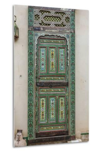 A Painted Door in Le Jardin Des Biehn, a Riad or Small Hotel in the Medina of Fez-Richard Nowitz-Metal Print