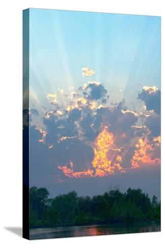 A Magnificent Sunset Sky over Rural Montana-Gordon Wiltsie-Stretched Canvas Print