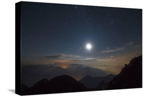 The Moon over Pala from the Peak of Cima D'Asta-Ulla Lohmann-Stretched Canvas Print