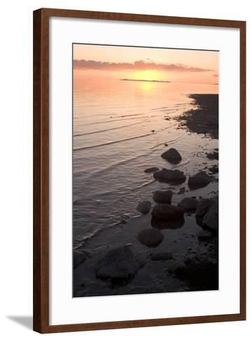 The Shoreline of Antelope Island and the Surface of the Great Salt Lake, Antelope Island State Park-Phil Schermeister-Framed Art Print
