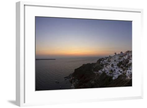 Moments after Sunset at the Mediterranean Island of Santorini Island, the Crescent Moon Appears-Babak Tafreshi-Framed Art Print