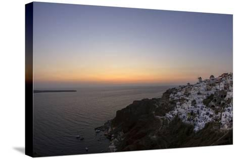 Moments after Sunset at the Mediterranean Island of Santorini Island, the Crescent Moon Appears-Babak Tafreshi-Stretched Canvas Print