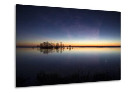Sunrise with Light Pink Cloud and Planet over Lake Mattamuskeet and a Stand of Bald Cypress Trees-Robbie George-Metal Print