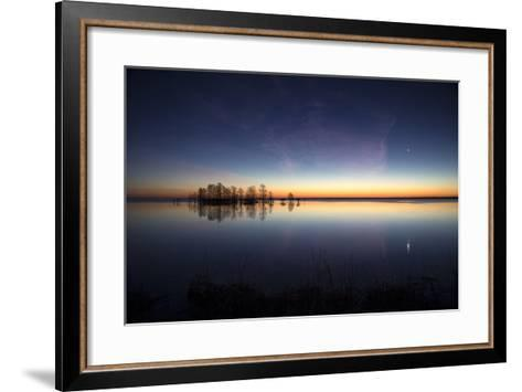 Sunrise with Light Pink Cloud and Planet over Lake Mattamuskeet and a Stand of Bald Cypress Trees-Robbie George-Framed Art Print