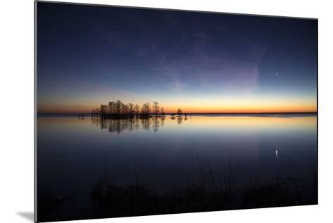 Sunrise with Light Pink Cloud and Planet over Lake Mattamuskeet and a Stand of Bald Cypress Trees-Robbie George-Mounted Photographic Print