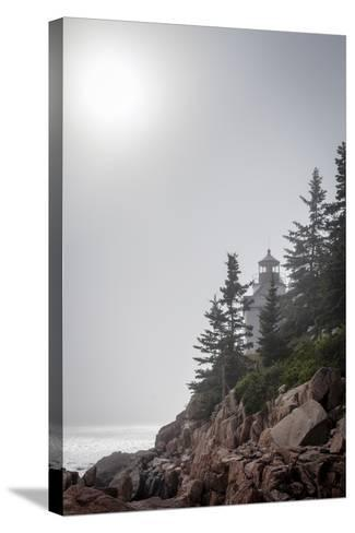 A Foggy Summer Day at Bass Harbor Headlight in Acadia National Park in Maine-Hannele Lahti-Stretched Canvas Print