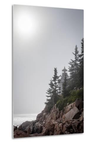 A Foggy Summer Day at Bass Harbor Headlight in Acadia National Park in Maine-Hannele Lahti-Metal Print