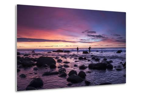 Early Morning Anglers Attempt a Good Catch on a Rocky Montauk Shoreline-Robbie George-Metal Print