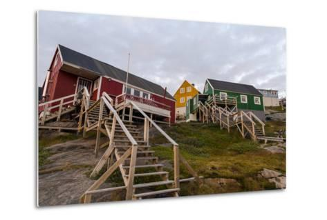 Stairs Lead to Cottages Perched on Rocky Outcrops in an Arctic Village-Jason Edwards-Metal Print
