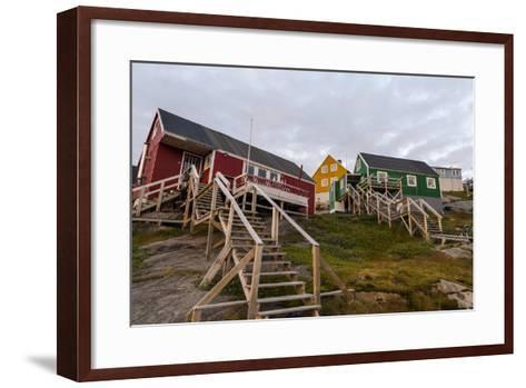 Stairs Lead to Cottages Perched on Rocky Outcrops in an Arctic Village-Jason Edwards-Framed Art Print