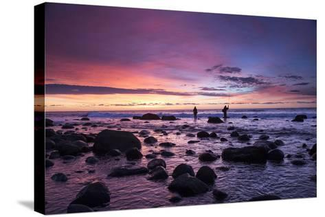 Early Morning Anglers Attempt a Good Catch on a Rocky Montauk Shoreline-Robbie George-Stretched Canvas Print