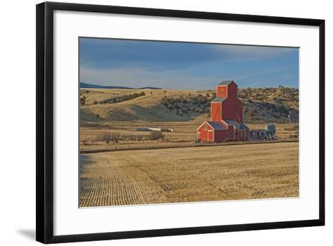 A Grain Elevator and Silos Stand Amid Fallow Wheat Fields in the Gallatin Valley, North of Bozeman-Gordon Wiltsie-Framed Art Print