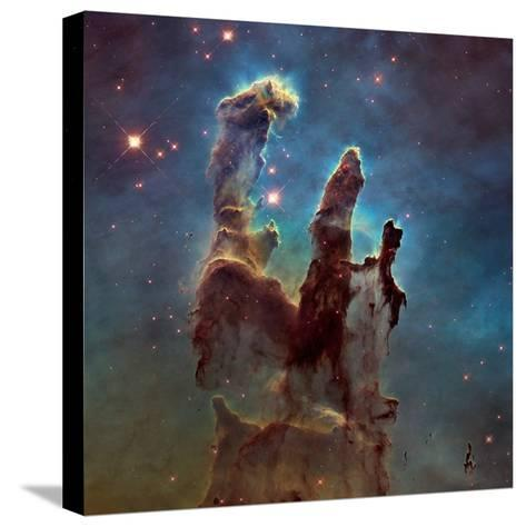 Images of the 'Pillars of Creation' in the Eagle Nebula--Stretched Canvas Print